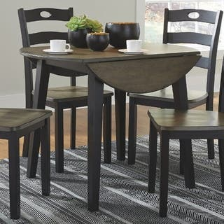 The Gray Barn Earth Dance Brown and Black Wood Round Drop Leaf Table