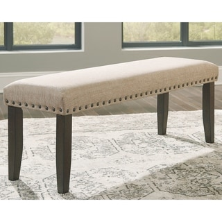 Link to The Gray Barn Riverlands Large Upholstered Light Brown Dining Room Bench - N/A Similar Items in Kitchen & Dining Room Chairs