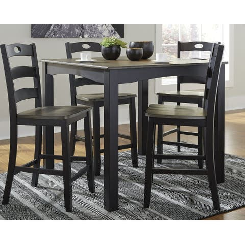 The Gray Barn Earth Dance Square Brown and Black Counter Height 5-piece Dining Set