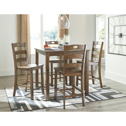 Hazelteen Square Counter Height Dining Set - Table and 4 Chairs - Medium Brown