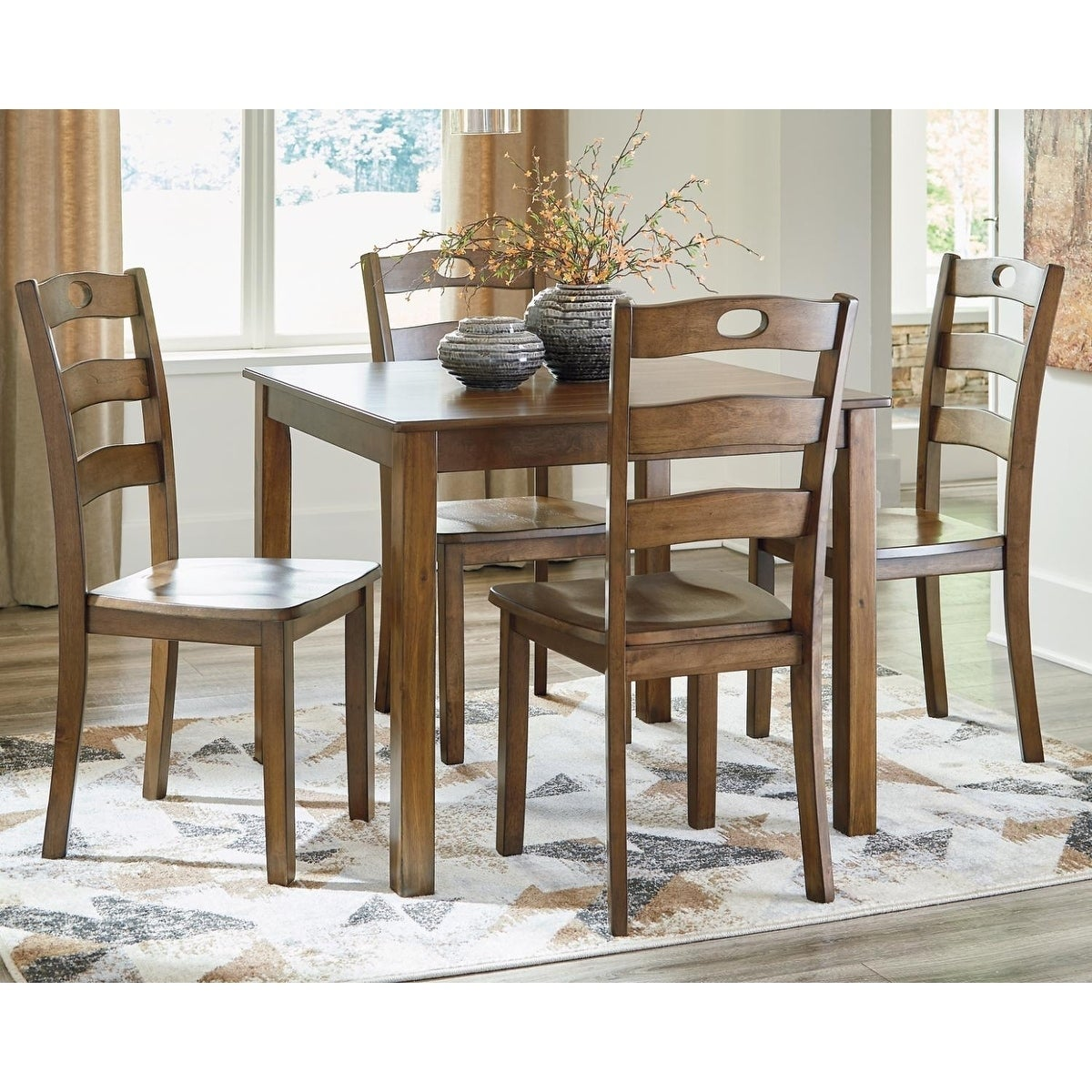 Hazelteen Square Dining Room Set Table And 4 Chairs Medium Brown Overstock 28029465