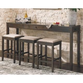 Rokane Rectangular Counter Height Dining Set - Table and 3 Bar Stools - Brown