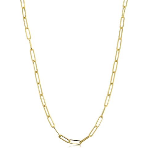14k Yellow Gold 3 millimeter Paperclip Chain Necklace