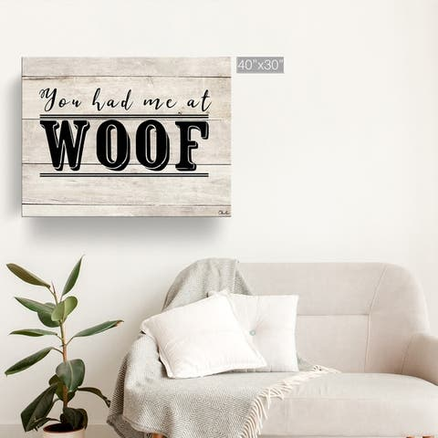 Porch & Den 'WOOF' Wrapped Canvas Wall Art
