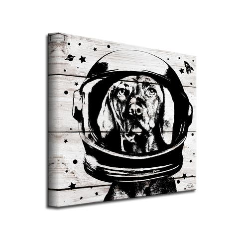 Porch & Den 'Space Dog' Wrapped Canvas Wall Art