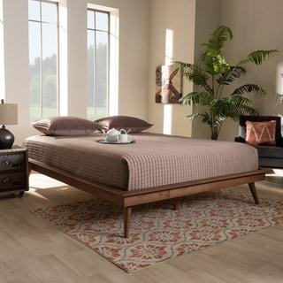 Carson Carrington Ulva Contemporary Walnut Wood Platform Bed Frame