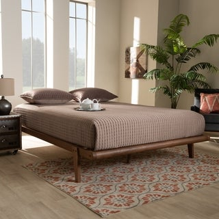 Carson Carrington Ulva Walnut Wood Platform Bed Frame