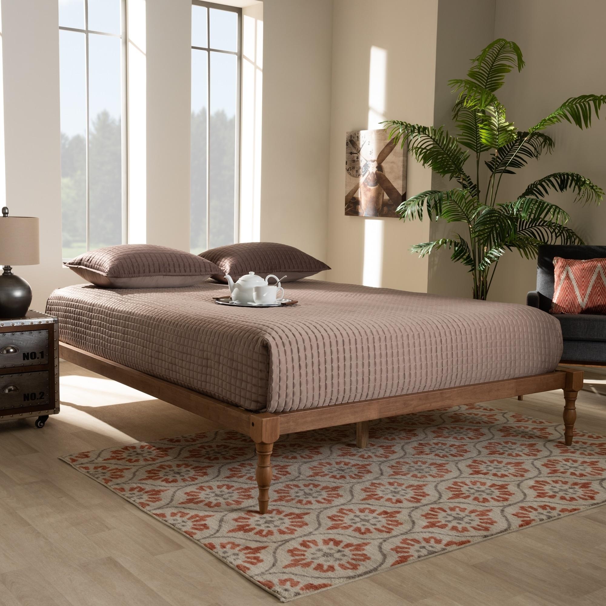 Contemporary Walnut Wood Platform Bed Frame