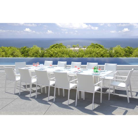 Ritz 13-piece White Mesh Sling Dining Set with 1 Rectangular Extension Table and 12 Chairs