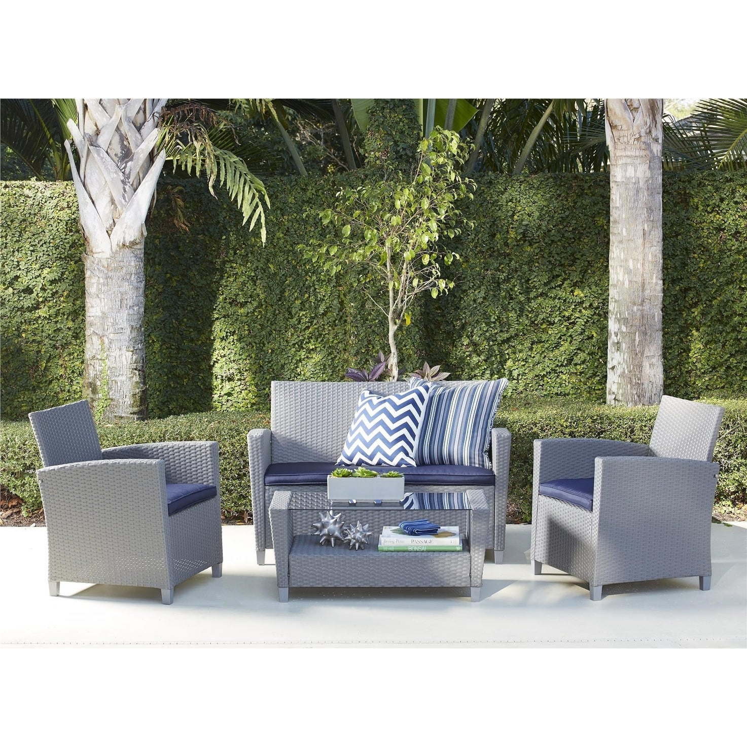 Terrific Cosco Outdoor 4 Piece Malmo Resin Wicker Patio Deep Seating Conversation Set Lamtechconsult Wood Chair Design Ideas Lamtechconsultcom