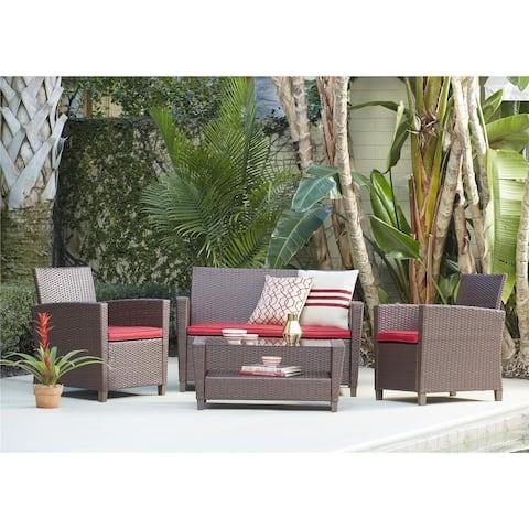 COSCO Outdoor 4 Piece Malmo Resin Wicker Patio Deep Seating Conversation Set