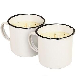 Swan Creek Mini Mug Candle White Linen and Lavender Set of 2