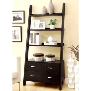 Link to Cappuccino Wood Modern Ladder Bookcase with Storage Drawers Similar Items in Living Room Furniture
