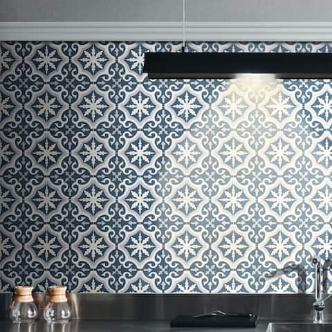 """Handmade Argana in Blue Tile, Pack of 12 - 8"""" x 8"""" (Morocco)"""