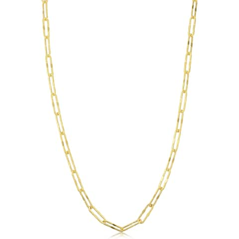 14k Yellow Gold 3 millimeter Diamond-cut Paperclip Chain Necklace