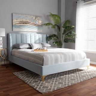 Link to Silver Orchid Bruce Glam Velvet Fabric Platform Bed Similar Items in Bedroom Furniture