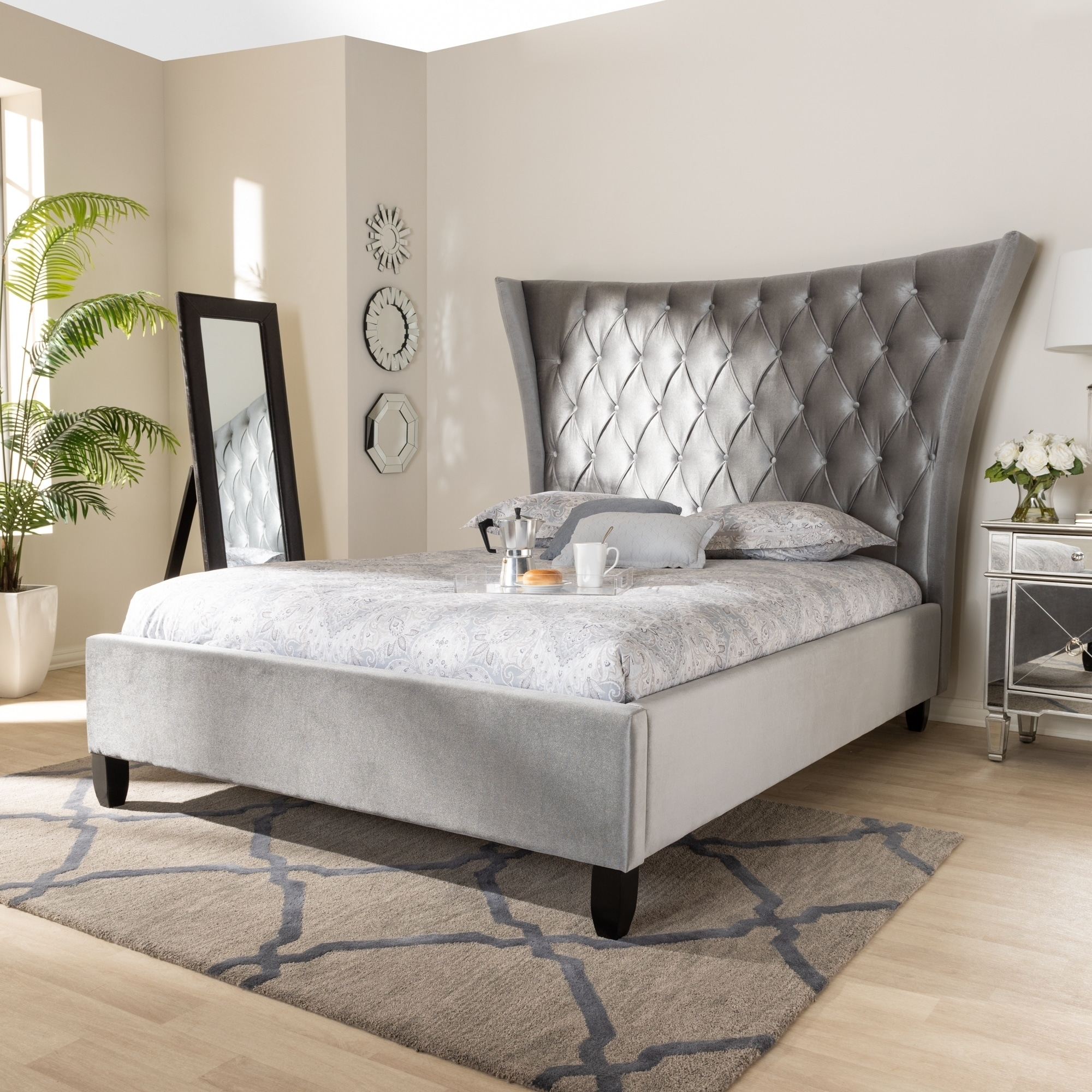 Glam Velvet Fabric Platform Bed With Tall Wingback Headboard Overstock 28031994 Queen