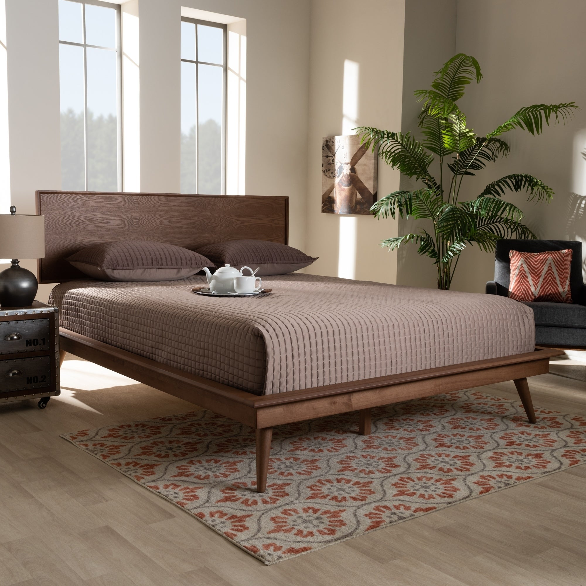 Carson Carrington Ulvsta Mid-century Modern Walnut Wood Platform Bed