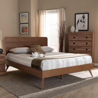Carson Carrington Ulvsta Walnut Wood Mid-century Platform Bed