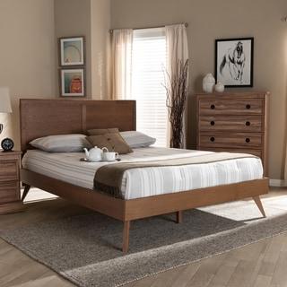 Carson Carrington Ulvsta Mid-century Walnut Wood Platform Bed