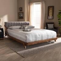 Mid-Century Fabric Platform Bed