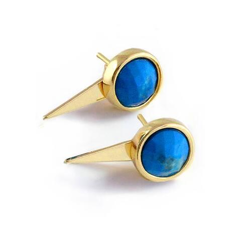 Sonia Hou Fire 3-Way Convertible 24K Gold Turquoise Blue Gemstone Ear Jacket Earrings