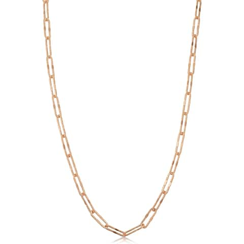 14k Rose Gold 3 millimeter Diamond-cut Paperclip Chain Necklace