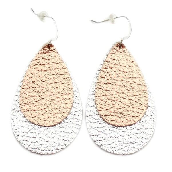 ebd28b095 Shop Handmade Leather Earrings - Double Drop - Copper or Shiny ...