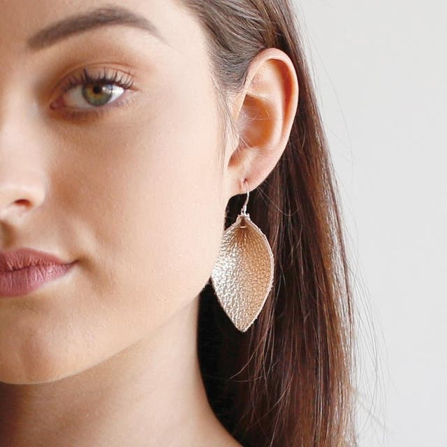Leather Earrings - The Blossom - Gold