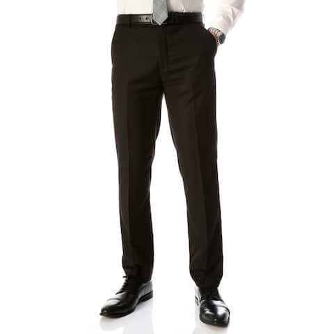 Ferrecci Men's Halo Black Slim Fit Flat-Front Dress Pants