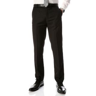 Ferrecci Men's Halo Black Slim Fit Flat-Front Dress Pants