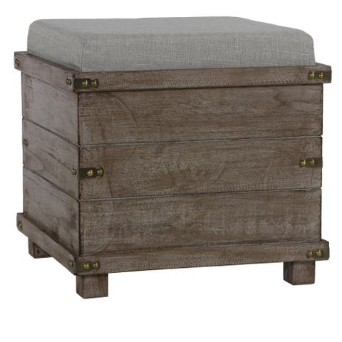 Cortesi Home Scusset Storage Chest Tray Ottoman in Fabric and Wood, Grey