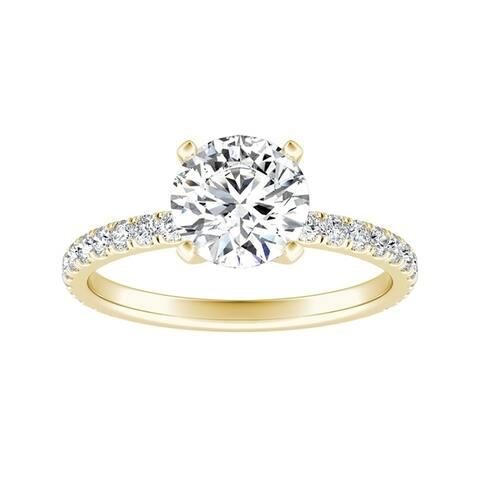 Auriya 2 carat TW Classic Round Diamond Engagement Ring 14k Gold Certified