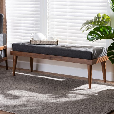 Carson Carrington Hjeltevad Mid-century Fabric Bench