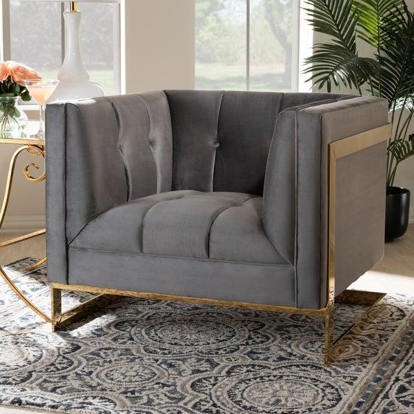Baxton Studio Velvet Fabric Goldtone Frame Glam Armchair. Opens flyout.