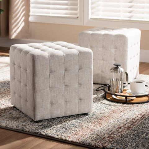 Contemporary Fabric 2-Piece Ottoman Set