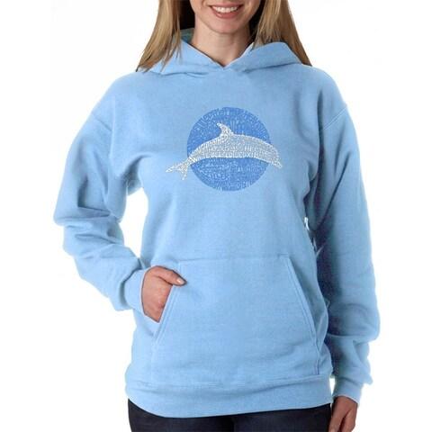 Women's Word Art Hooded Sweatshirt -Species of Dolphins - LA Pop Art