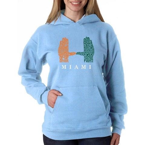 Women's Word Art Hooded Sweatshirt -Miami Hurricanes Hand Symbol - LA Pop Art