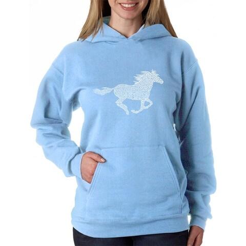Women's Word Art Hooded Sweatshirt -Horse Breeds - LA Pop Art