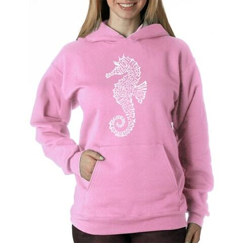 Women's Word Art Hooded Sweatshirt -Types of Seahorses - LA Pop Art