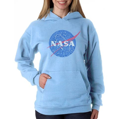 Women's Word Art Hooded Sweatshirt -NASA's Most Notable Missions - LA Pop Art