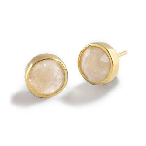 Sonia Hou Fire 3-Way Convertible 24K Gold White Quartz Gemstone Stud Earrings