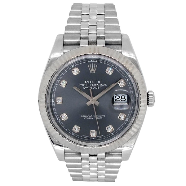 Pre-owned 41mm Rolex Stainless Steel Oyster Perpetual Datejust 41 Watch