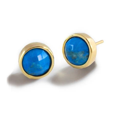 Sonia Hou Fire 3-Way Convertible 24K Gold Turquoise Blue Gemstone Stud Earrings