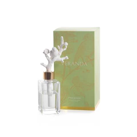 Veranda French Gardenia Porcelain Diffuser, Bird on Branch - Clear, White, Gold