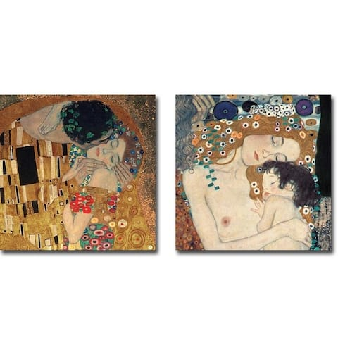 Gustav Klimt 'The Kiss' and 'Three Ages of Woman' 2-Piece Gallery Wrapped Canvas Giclee Art Set (18 inches x 18 inches each)