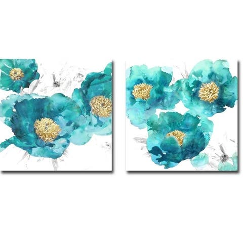 Artistic Home Gallery Vanessa Austin 'Aqua Trio I & II' Canvas Giclee Art Set (Set of 2)