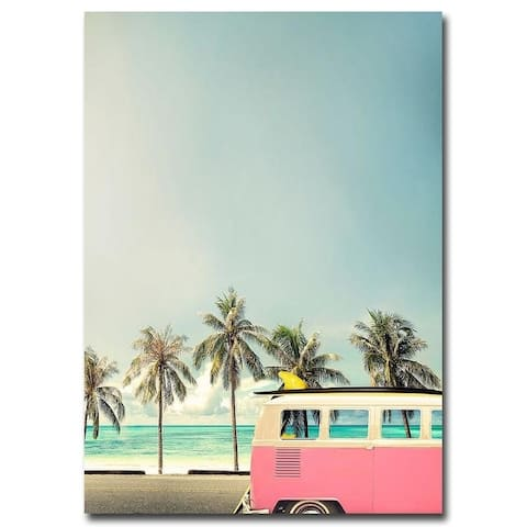 Surf Bus Pink by Design Fabrikken Gallery Wrapped Canvas Giclee Art (35 in x 25 in)