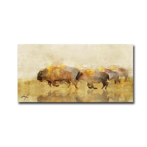 Ken Roko 'Traveling Bison II' 18 x 36-inch Gallery Wrapped Canvas Giclee Art