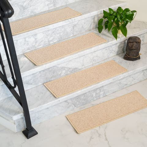 "Natural Area Rugs Java, Polypropylene Beige Handmade Stair Treads Carpet Set of 8 (9""x29"") - 8PC (9"" x 29"")"